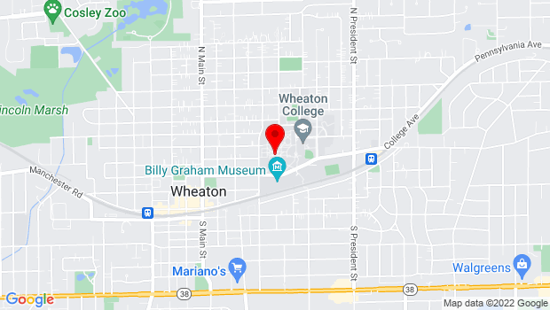 Google Map of 501 College Ave, Wheaton, IL 60187