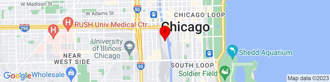 Google Map of 41.8720759, -87.63656569999999