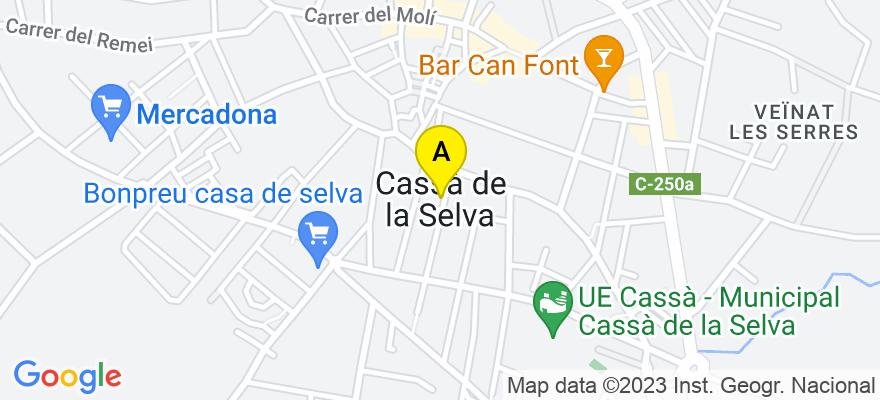 situacion en el mapa de . Direccion: Catalunya, 50, bx, 17244 Cassà de la Selva. Girona