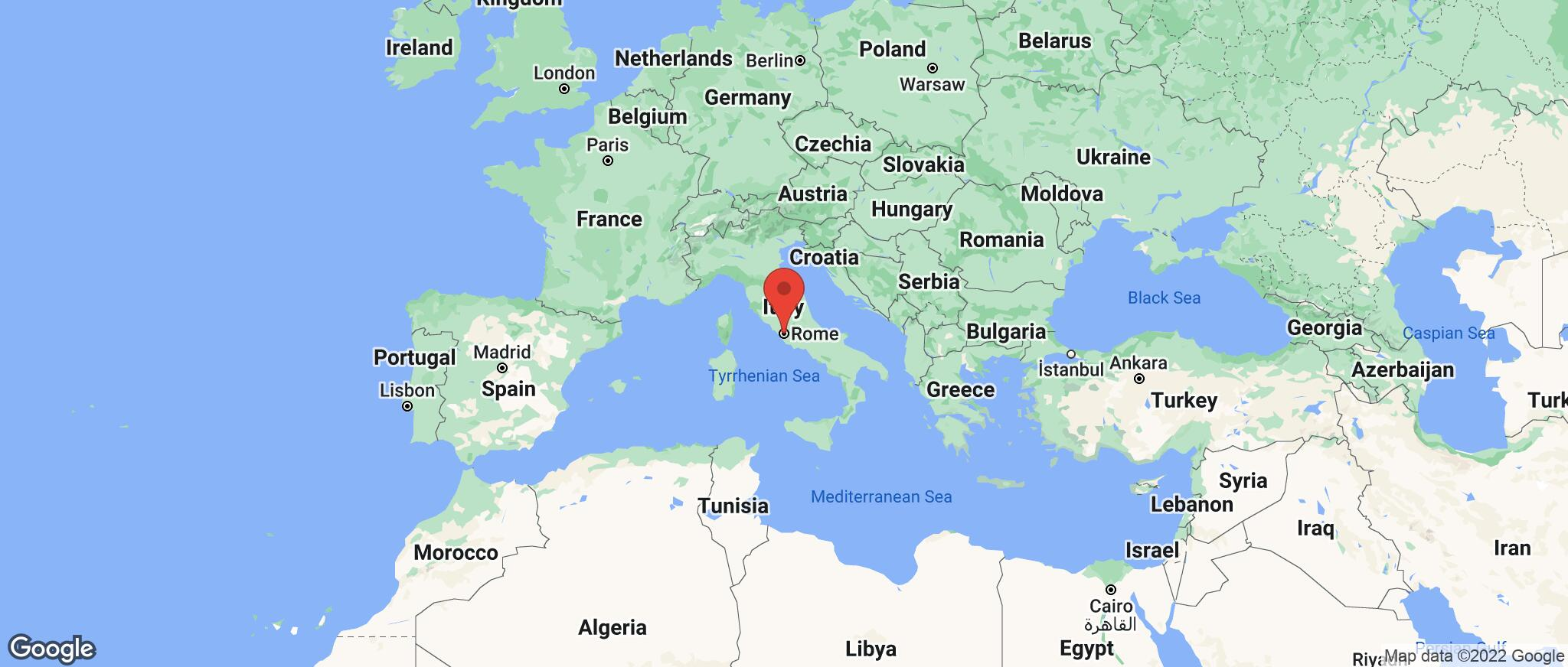 Map showing the location of Rome