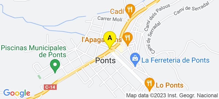 situacion en el mapa de . Direccion: Ctra. Calaf 33, 25740 Ponts. Lleida