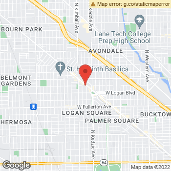 Map of Dr. Michael Demers, Optometrist, and Associates - Logan Square at 2706-08 N. Milwaukee Avenue, Chicago, IL 60647