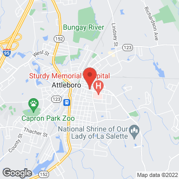 Map of E. Kelly McLaughlin, DPM at 140 Park Streetnumber 1, Attleboro, MA 02703