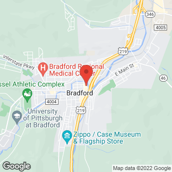 Map of Arby's at 75 Foreman St, Bradford, PA 16701