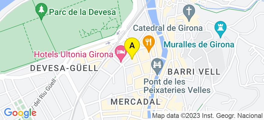situacion en el mapa de . Direccion: Jaume I nº 3 2º, 17001 Girona. Girona