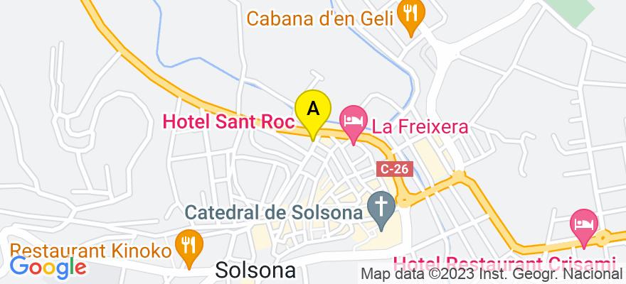 situacion en el mapa de . Direccion: Plaça Sant Roc 3, 25280 Solsona. Lleida
