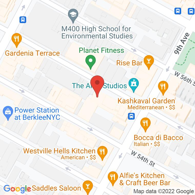 Google Map of 410 W 55th St., New York, NY 10019, 410 W 55th St., New York, NY 10019