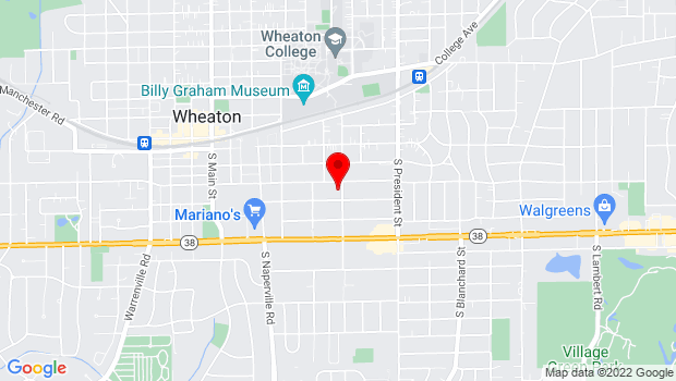 Google Map of 412 S Chase St., Wheaton, IL 60187