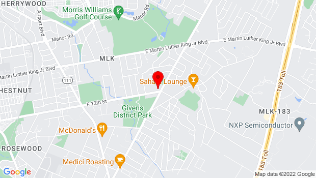 Google Map of 4136 East 12th Street, Austin, TX 78721
