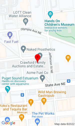 Google Map of Crawford Family Auctions LLC 415 Olympia Ave Ne, Olympia, WA, 98501