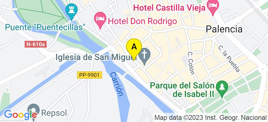 situacion en el mapa de . Direccion: Calle Mayor 82 2C, 34001 Palencia. Palencia