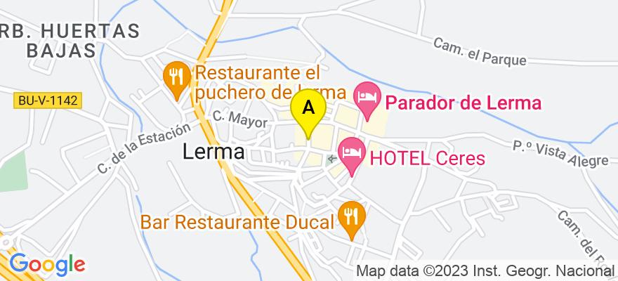 situacion en el mapa de . Direccion: Calle Barco 1, 09340 Lerma. Burgos