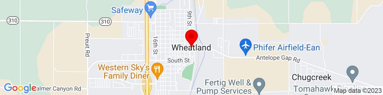 Google Map of 42.0544141, -104.9527501
