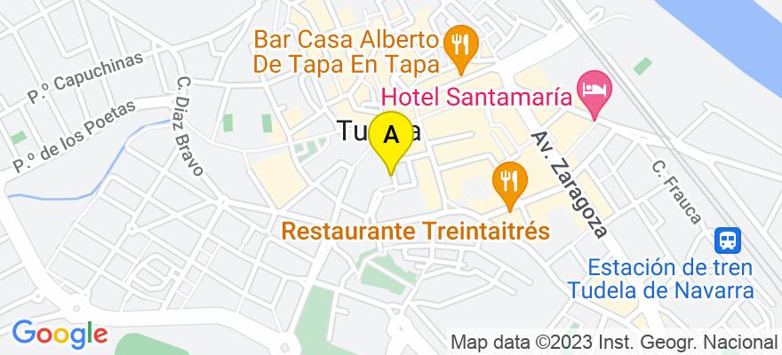 situacion en el mapa de . Direccion: Plaza de la Constitución nº 4 bajo de Tudela, 31500 Tudela. Navarra