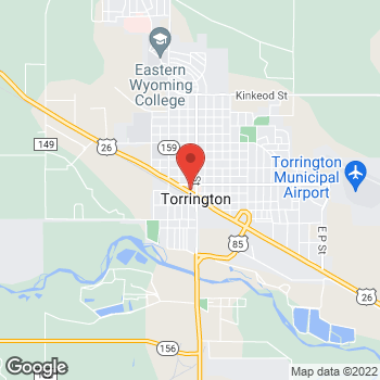Map of Arby's at 128 W Valley Rd, Torrington, WY 82240