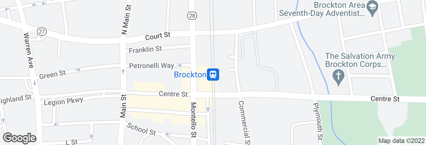 Map of Brockton and surrounding area