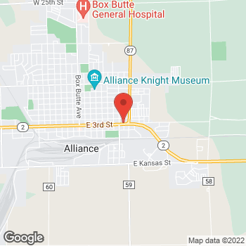 Map of Taco John's at 824 E 3rd St, Alliance, NE 69301