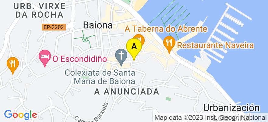 situacion en el mapa de . Direccion: plaza Santa liberata, número 7, 2°E, 36300 Baiona. Pontevedra