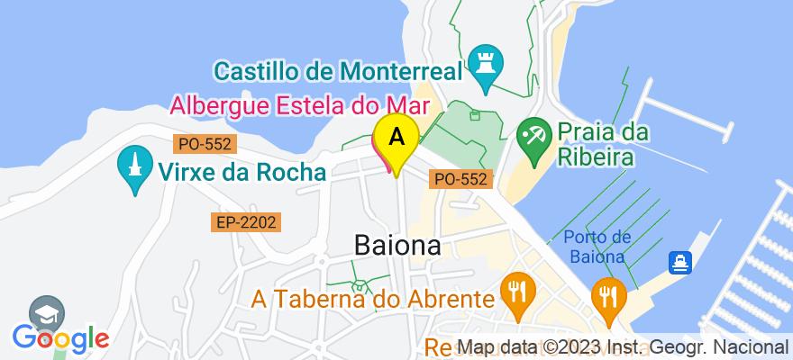 situacion en el mapa de . Direccion: Avenida Marques de Quintanar Nº 2, 36360 Baiona. Pontevedra