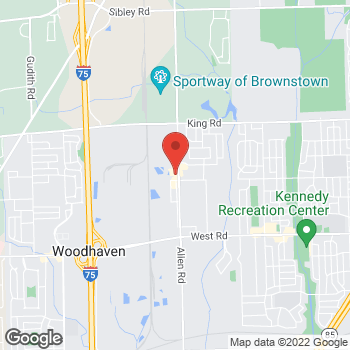 Map of Tim Hortons at 21930 Allen Rd, Woodhaven, MI 48183