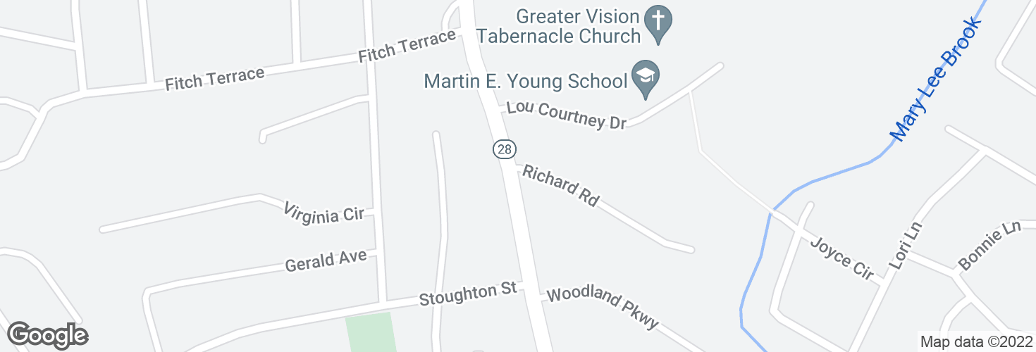 Map of S Main St @ Richard Rd and surrounding area