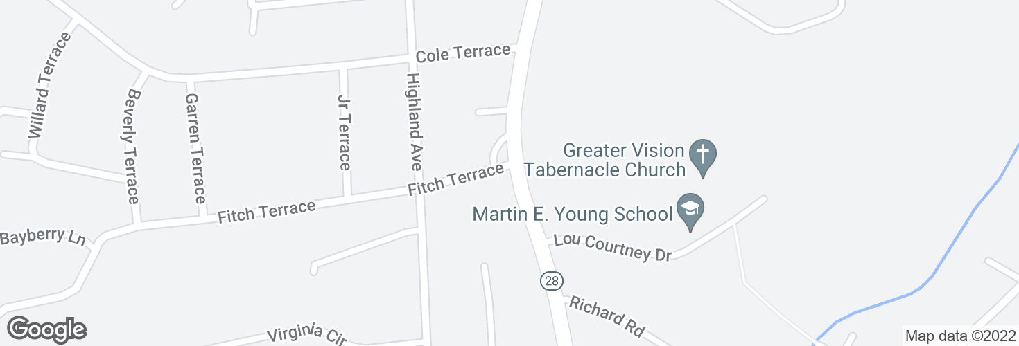 Map of S Main St @ Fitch Terr and surrounding area