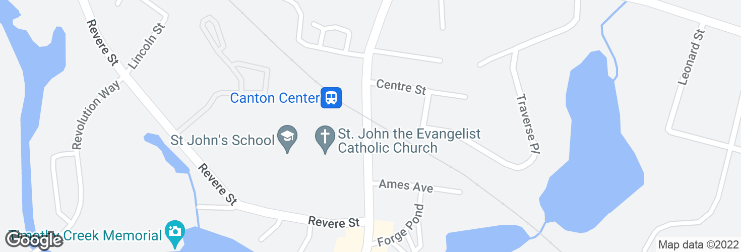 Map of Washington St opp Canton Center Station and surrounding area