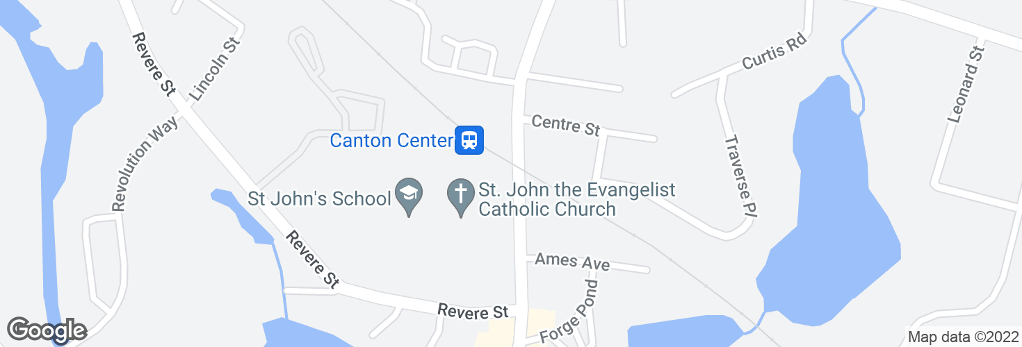 Map of Washington St @ Canton Center Station and surrounding area