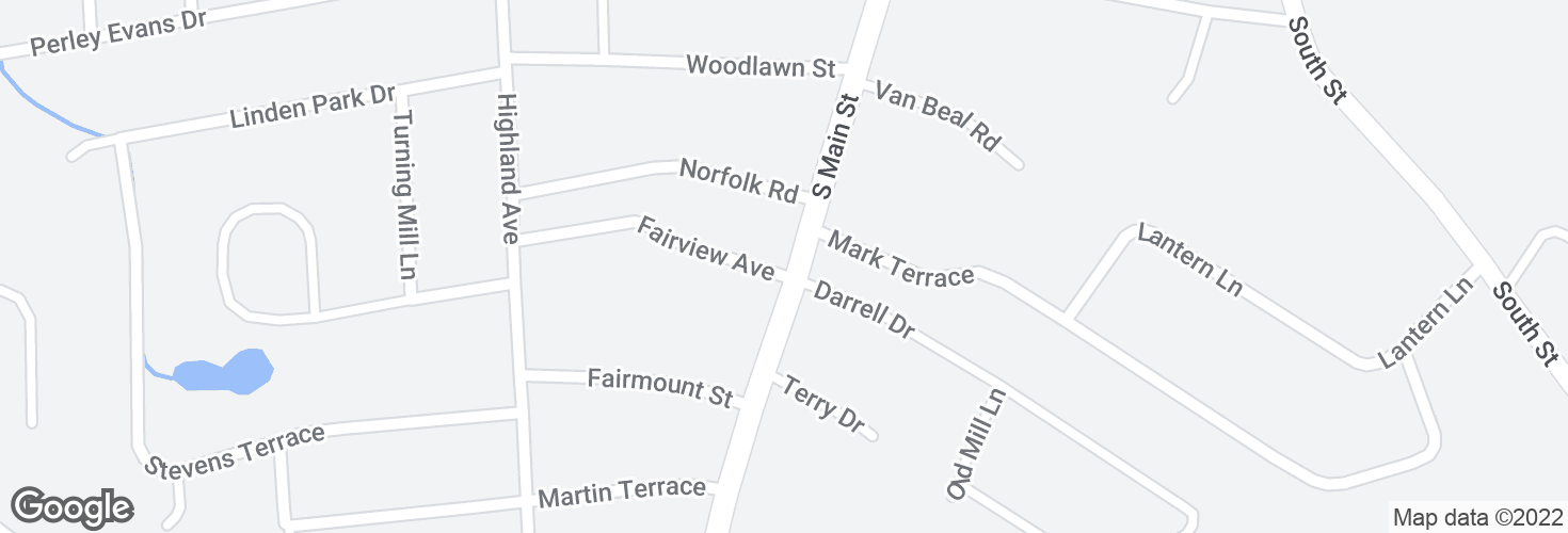 Map of S Main St @ Fairview Ave and surrounding area