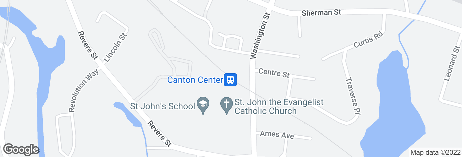 Map of Canton Center and surrounding area