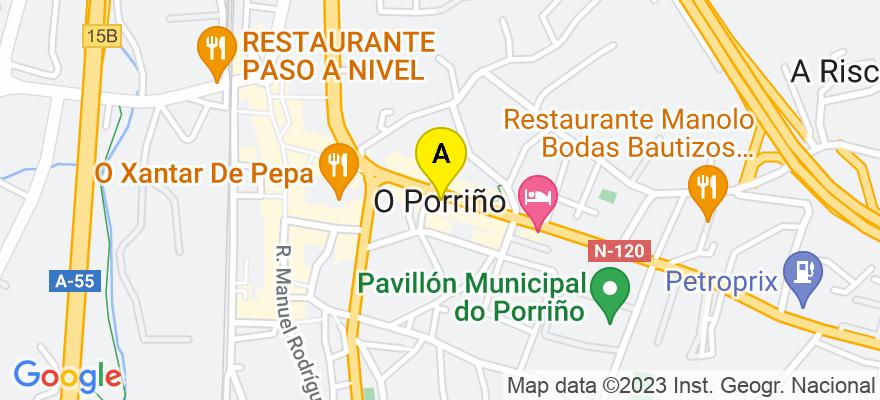 situacion en el mapa de . Direccion: C/Ramón Gónzalez 31-Entresuelo, 36400 O Porriño. Pontevedra