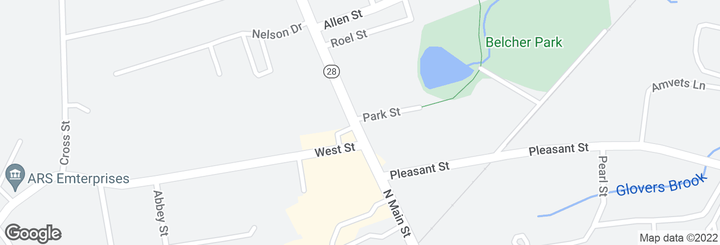 Map of N Main St @ Park St and surrounding area