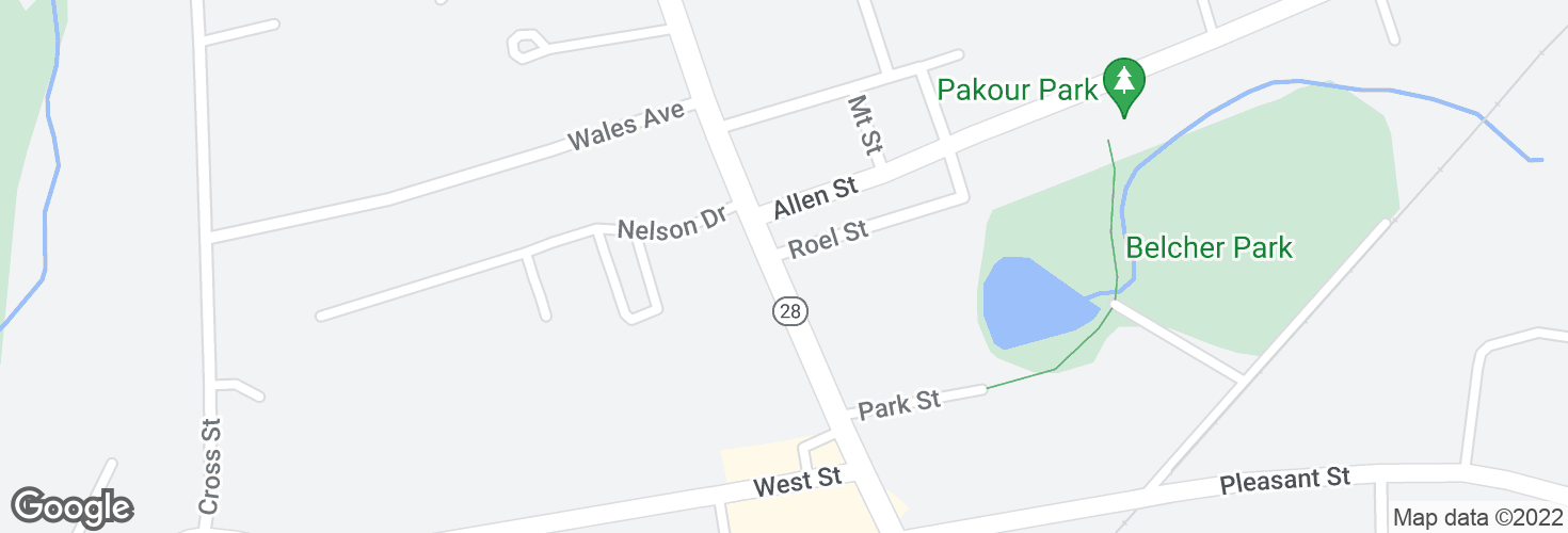 Map of N Main St @ Roel St and surrounding area