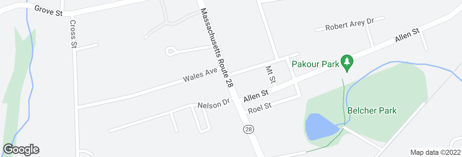 Map of N Main St @ Mt Pleasant Sq and surrounding area