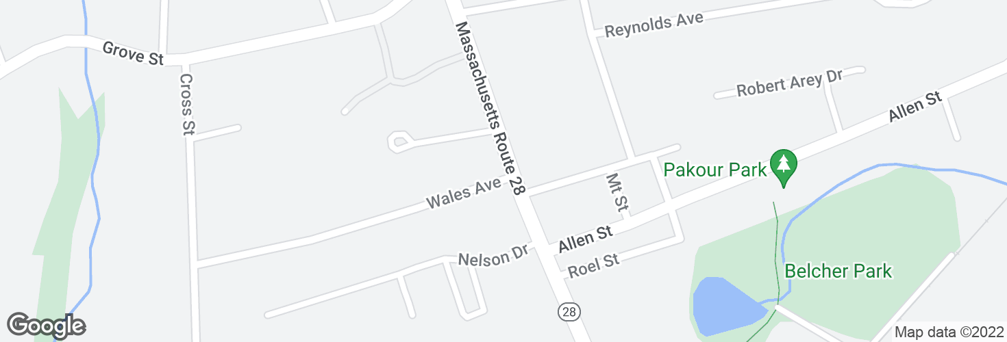 Map of N Main St @ Wales Ave and surrounding area