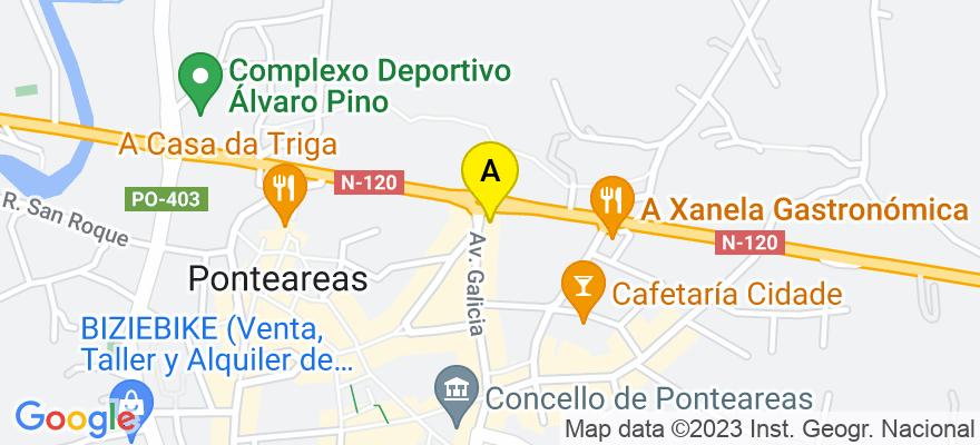 situacion en el mapa de . Direccion: Avd de Galicia nº 11, 2º-E, 36860 Ponteareas. Pontevedra