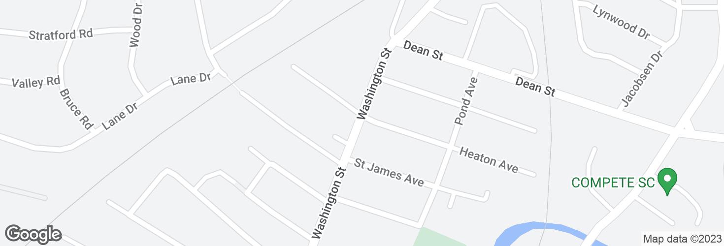 Map of Washington St @ Heaton Ave and surrounding area