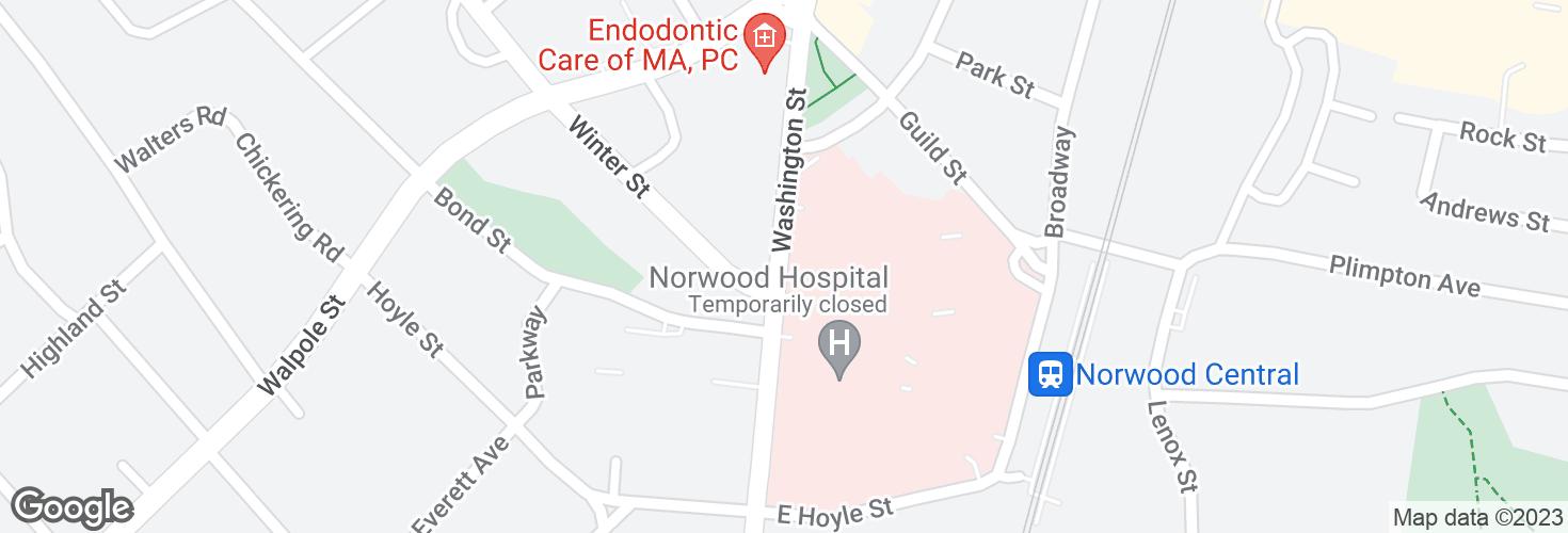 Map of Washington St @ Norwood Hospital and surrounding area