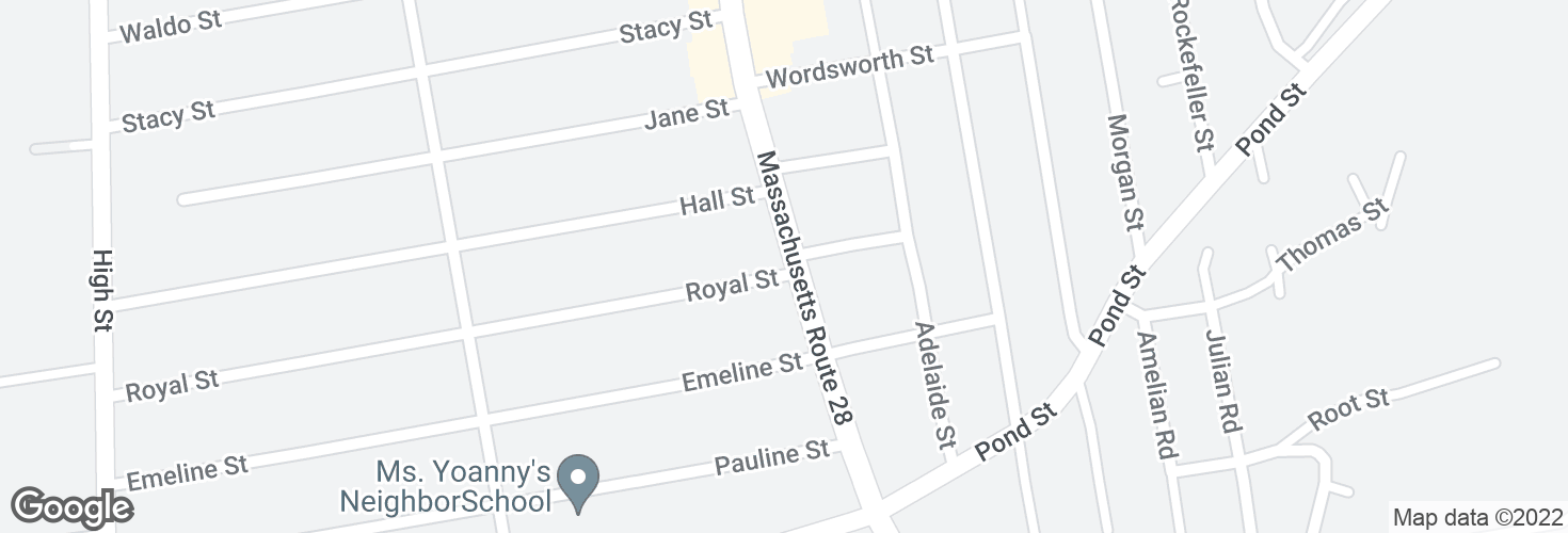 Map of N Main St @ Royal St and surrounding area