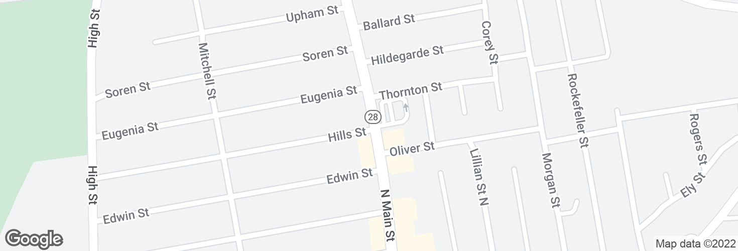 Map of N Main St @ Hills St and surrounding area