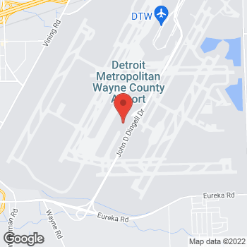 Map of Tim Hortons at 2500 World Gate Place, Detroit, MI 48242