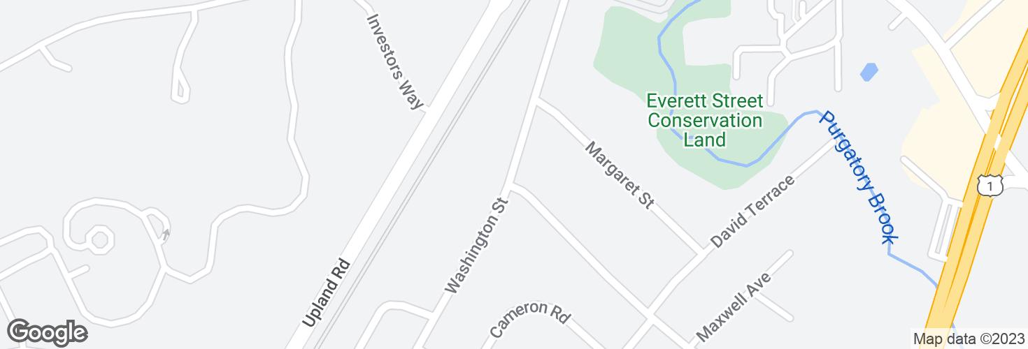 Map of Washington St @ Ellis Ave and surrounding area