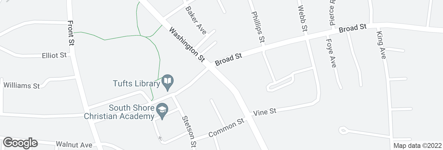 Map of Washington St @ Broad St and surrounding area
