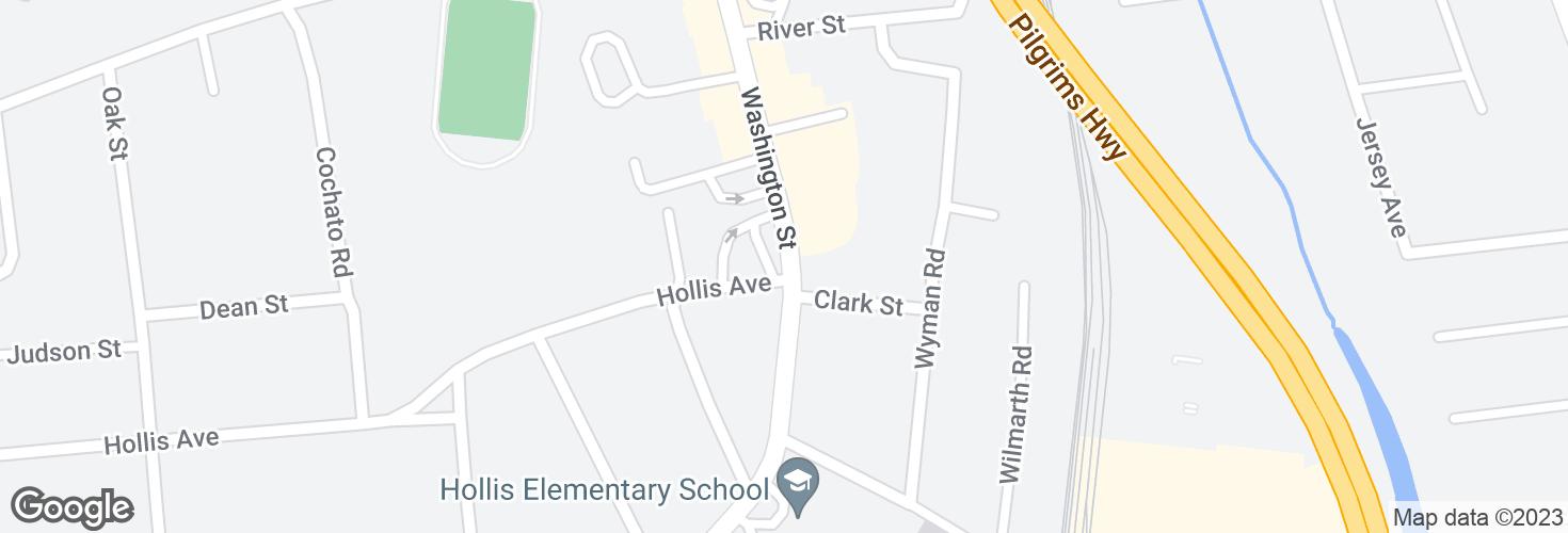 Map of Washington St @ Holllis Ave and surrounding area