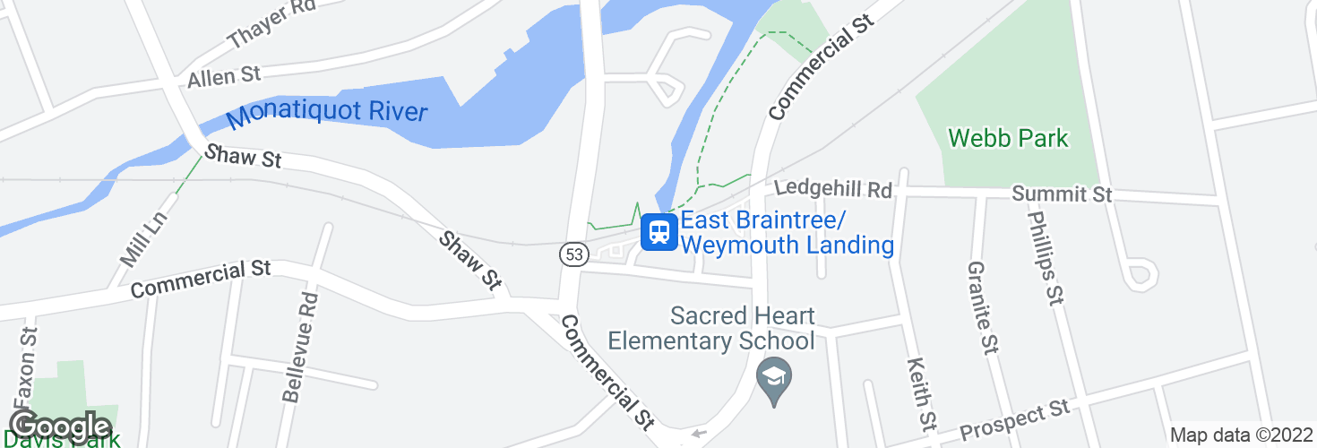Map of Weymouth Landing/East Braintree and surrounding area