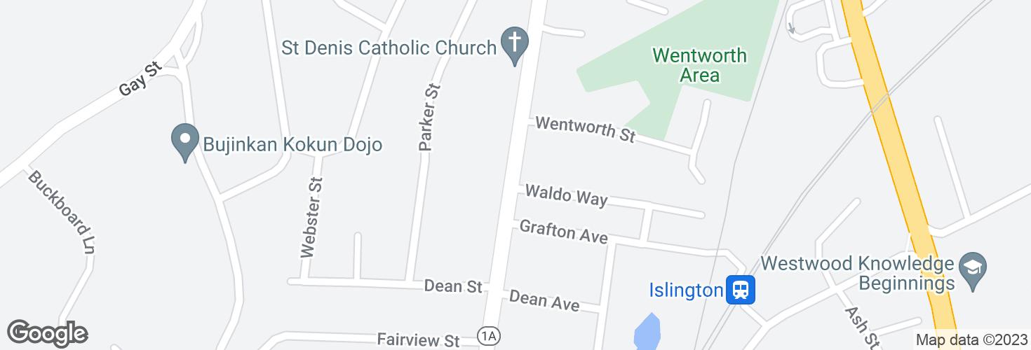 Map of Washington St @ Waldo Way and surrounding area