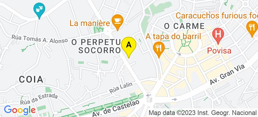 situacion en el mapa de . Direccion: Calle Coruña, 38, 36208 Vigo. Pontevedra