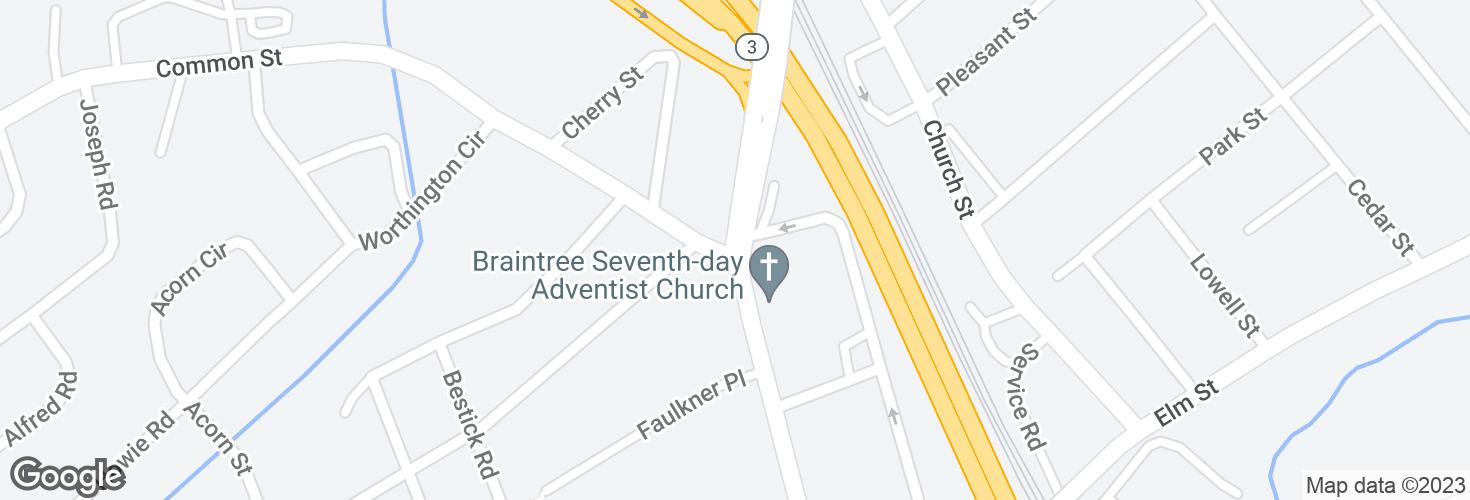 Map of Washington St @ Common St and surrounding area