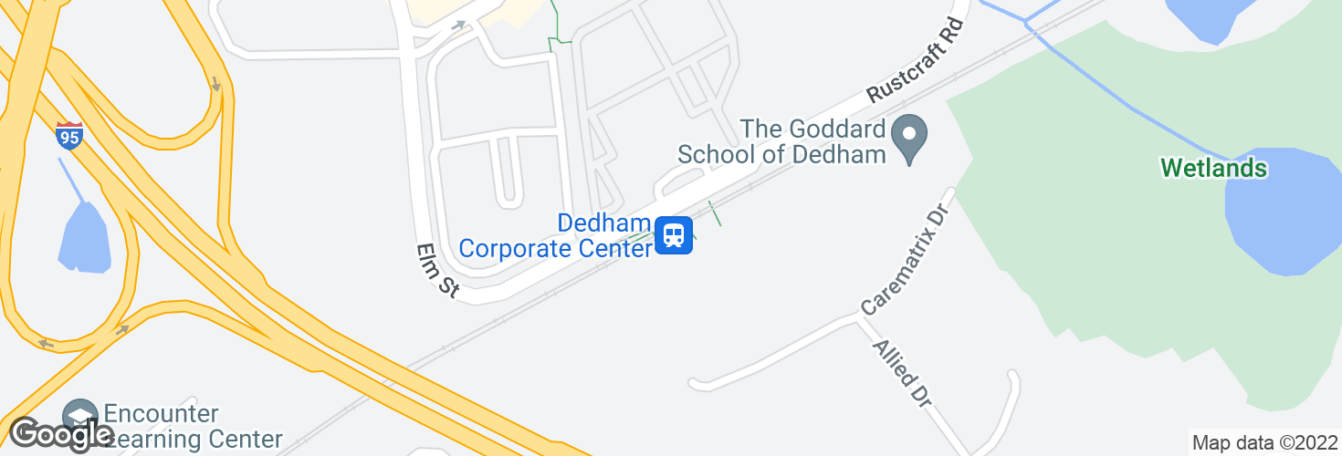 Map of Dedham Corp Center and surrounding area