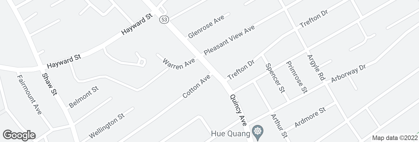 Map of Quincy Ave @ Cotton Ave and surrounding area